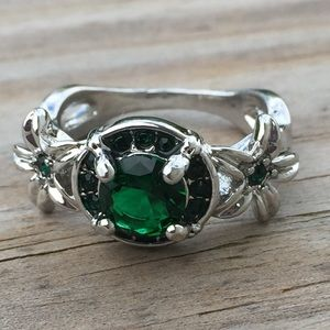 Emerald CZ Halo White Gold fashion ring